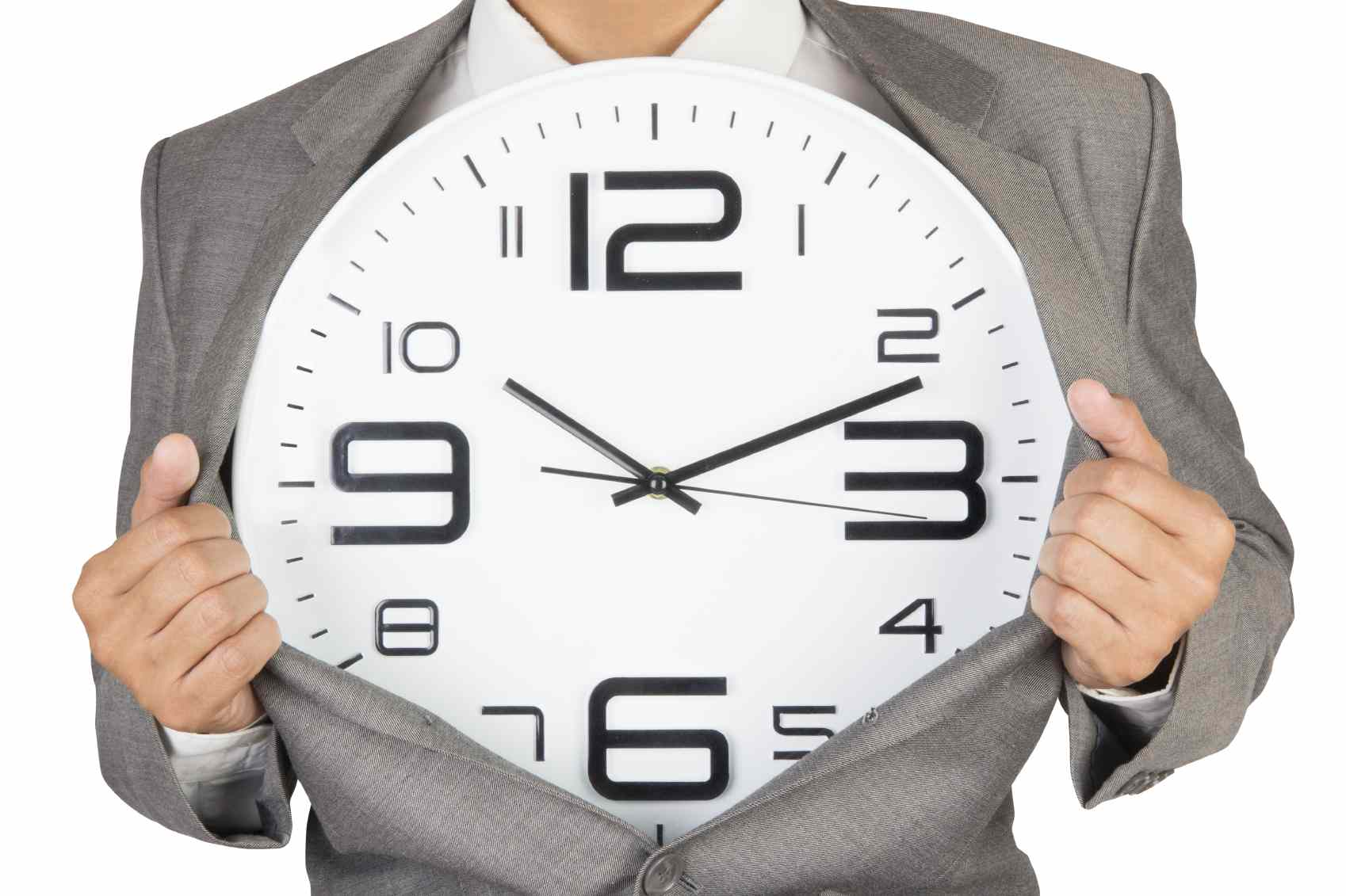 businessman showing clock in suit isolated on white background with clipping path